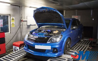 Blue 326BHP 330LBFT Vauxhall Astra VXR tuned on the rolling road